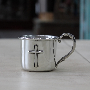 Solid Pewter Cross Baby Cup