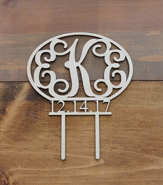 Script Monogram With Date Cake Topper