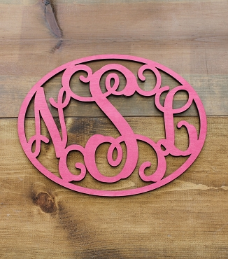 Script Monogram Cut Out With Oval Frame