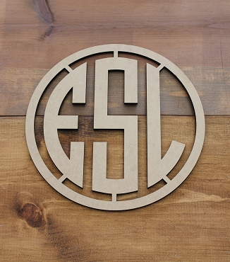 Round Monogram Cut Out With Frame
