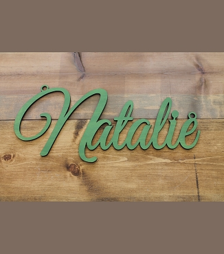 Fancy Script Name Cut Out With Hanging Hoops