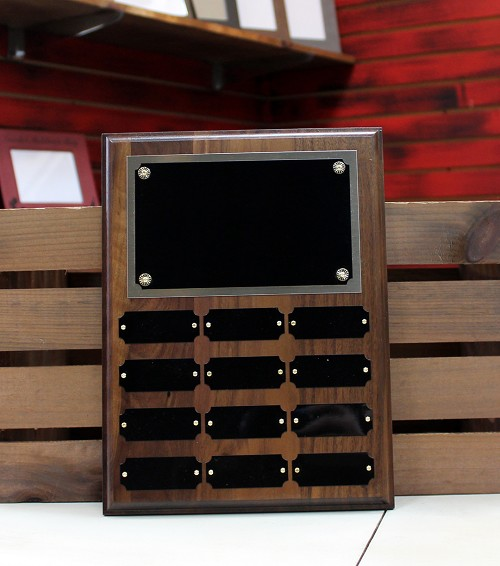Solid Walnut Perpetual Plaque with 12 Update Plates